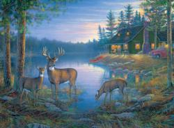 Secluded Lake (Great Outdoors) Deer Panoramic