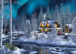 Northern Lights Cottage / Cabin Jigsaw Puzzle