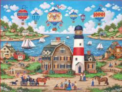 Balloons Over the Bay Seascape / Coastal Living Jigsaw Puzzle