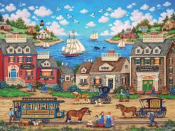 Ocenside Trolley Seascape / Coastal Living Jigsaw Puzzle