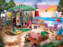 Oceanside Camping Seascape / Coastal Living Jigsaw Puzzle