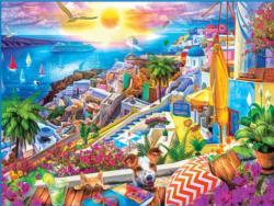 Santorini Sails Seascape / Coastal Living Large Piece