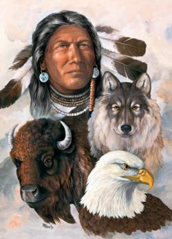 One Spirit (Tribal Spirit) Wolves Jigsaw Puzzle