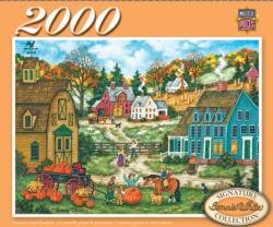 Grandpa's Giant Pumpkin - Scratch and Dent Folk Art Jigsaw Puzzle