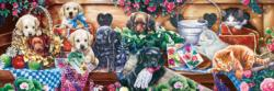 Flower Playground Dogs Panoramic Puzzle