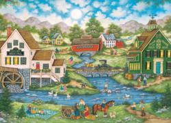 Millside Picnic Americana & Folk Art Jigsaw Puzzle