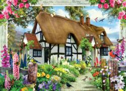Rose Cottage Flowers Jigsaw Puzzle