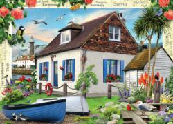 Fishermans Cottage Seascape / Coastal Living Jigsaw Puzzle