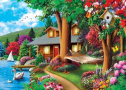 Around the Lake Cottage / Cabin Jigsaw Puzzle