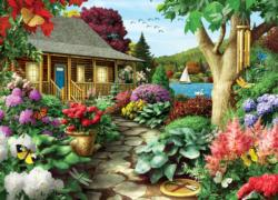 Dragonfly Garden (Time Away) Cottage / Cabin Jigsaw Puzzle