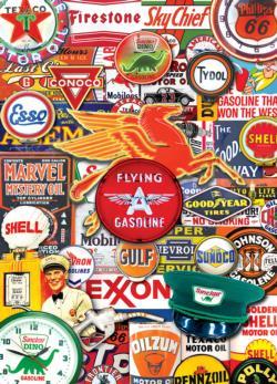Retro Petrol (Suitcase Box) Collage Jigsaw Puzzle