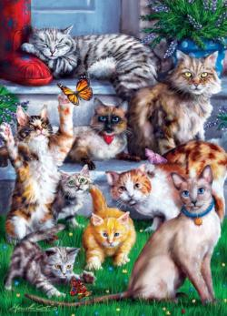 Butterfly Chasers Cats Jigsaw Puzzle