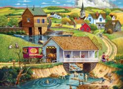 Last Swim of Summer Americana & Folk Art Jigsaw Puzzle