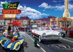 Drive Through on Rte. 66 Nostalgic / Retro Jigsaw Puzzle