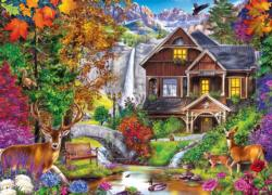 Hidden Falls Retreat Cottage / Cabin Jigsaw Puzzle