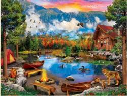 Sunset Canoe Lakes / Rivers / Streams Jigsaw Puzzle
