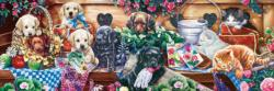 Flower Box Playground Dogs Panoramic Puzzle