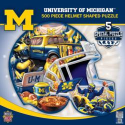 Michigan Helmet Shaped Puzzle Sports Jigsaw Puzzle