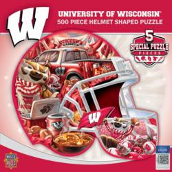 Wisconsin Helmet Shaped Puzzle Sports Jigsaw Puzzle