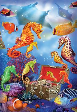 Treasure Ship Sea Horses Marine Life Jigsaw Puzzle