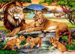 Lion's Family in the Savannah Africa Jigsaw Puzzle