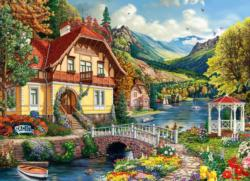 House by the Pond Domestic Scene Jigsaw Puzzle