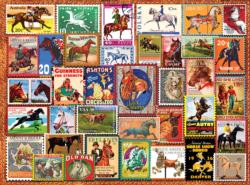 Vintage Equestrian Stamps Everyday Objects Jigsaw Puzzle