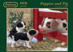 Puppies and Pig Farm Animals Jigsaw Puzzle