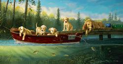 Fishing Lessons Baby Animals Jigsaw Puzzle