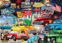 Route 66 Vintage Cars and Trucks United States Jigsaw Puzzle