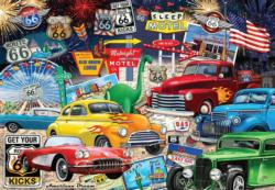 Route 66 Vintage Cars and Trucks Nostalgic / Retro Jigsaw Puzzle