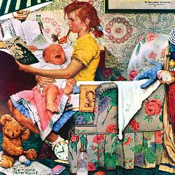 The Babysitter (The Saturday Evening Post) Domestic Scene New Product - Old Stock