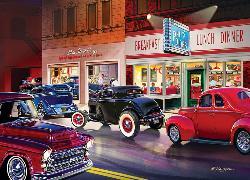 Phil's Diner (Cruisin') Street Scene Jigsaw Puzzle