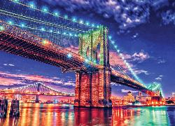 Brooklyn Lights (HDR Photography) Bridges Jigsaw Puzzle
