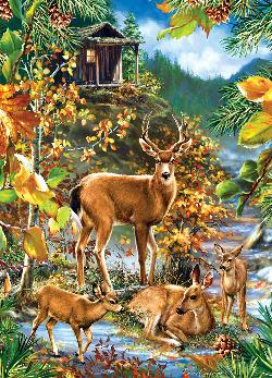 Family Gathering (Peek Season) Deer Jigsaw Puzzle