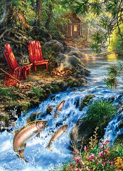 Up Stream (Peek Season) Cottage/Cabin Jigsaw Puzzle