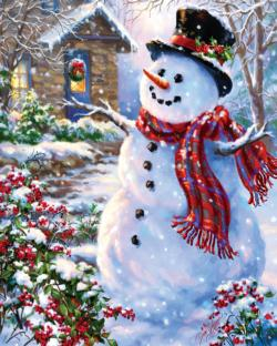 Let it Snow Snowman Jigsaw Puzzle