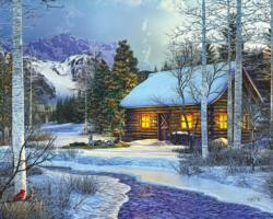 Winter's Solitude Cottage/Cabin Jigsaw Puzzle