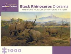 Black Rhinoceros Diorama Jungle Animals Jigsaw Puzzle