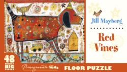 Red Vines Flowers Floor Puzzle
