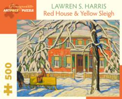 Red House And Yellow Sleigh Winter Jigsaw Puzzle