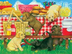 Picnic Puppies Baby Animals Jigsaw Puzzle
