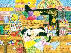 Kitten's Sewing Lesson Cats Jigsaw Puzzle