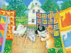 Clothesline Kittens Cats JigsawPuzzle