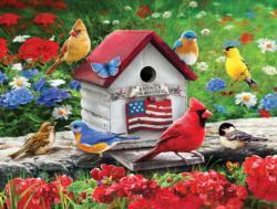 Patriotic Birdhouse Birds Large Piece
