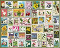 State Flower Stamps Collage Impossible Puzzle
