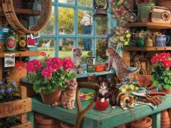 Curious Kittens Garden Jigsaw Puzzle