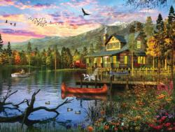 Sunset Cabin Sunrise / Sunset Jigsaw Puzzle