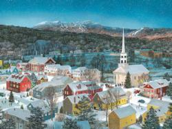 Winter Memories in Stowe, VT. Churches Jigsaw Puzzle