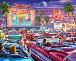 Drive-In Movie Nostalgic / Retro Jigsaw Puzzle